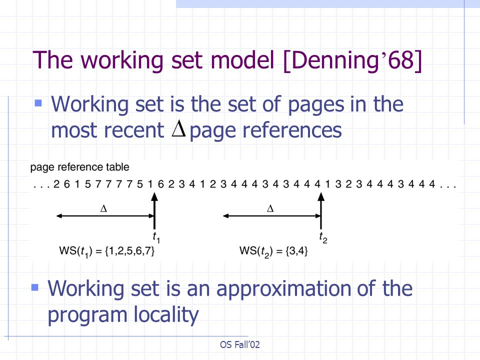 The working set model [Denning'68]